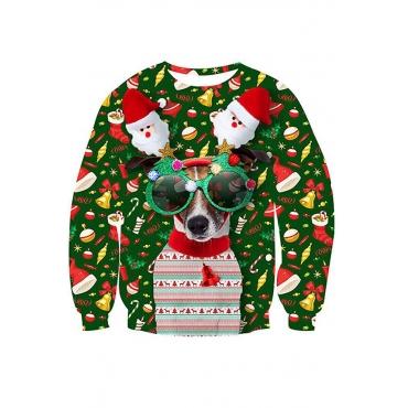 Lovely Trendy Print Green Sweatshirt Hoodie