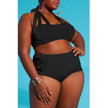Lovely Hollow-out Black Plus Size Two-piece Swimwear