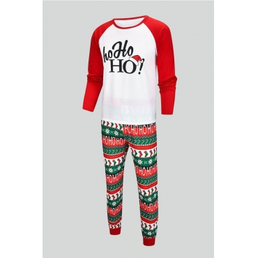 Lovely Trendy O Neck Printed White Father Two-pieces Pants Set