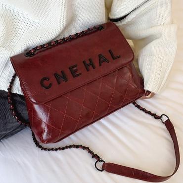 Lovely Trendy Letter Wine Red Messenger Bag