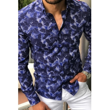 Lovely Bohemian Print Buttons Blue Shirt