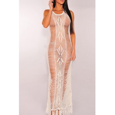 Lovely Tassel Design Hollow-out White Beach Dress