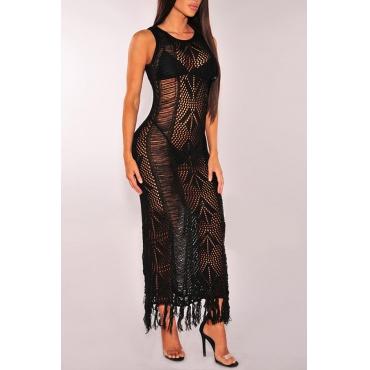 Lovely Tassel Design Hollow-out Black Beach Dress