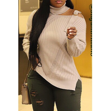 Lovely Casual Turtleneck Hollow-out Beige Sweater