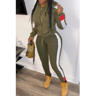 Lovely Casual Patchwork Army Green Two-piece Pants Set