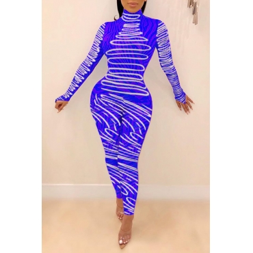 Lovely Chic Print Skinny Blue One-piece Jumpsuit