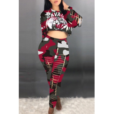 Lovely Sexy Crop Top Print Wine Red Two-piece Pants Set