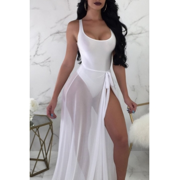 Lovely V Neck Skinny White One-piece Swimwear(With Cover-up)