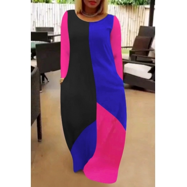 Lovely Casual Patchwork Multicolor Maxi Dress