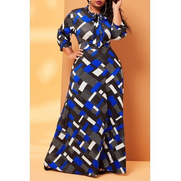 Lovely Casual Print Blue Ankle Length Plus Size Dress