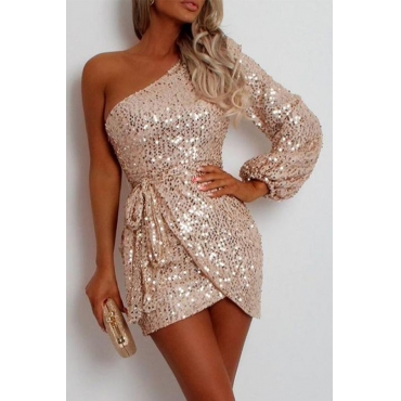 Lovely Party One Shoulder Rose Gold Mini Evening Dress