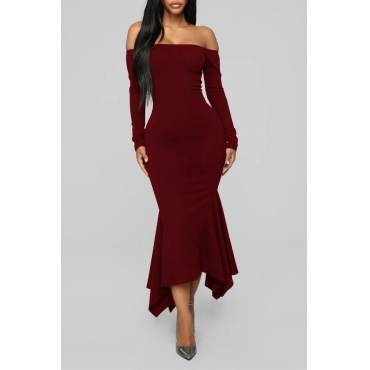 Lovely Sweet Dew Shoulder Skinny Wine Red Ankle Length Dress