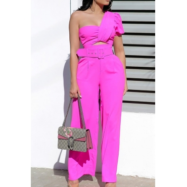 Lovely Chic Dew Shoulder Rose Red One-piece Jumpsuit