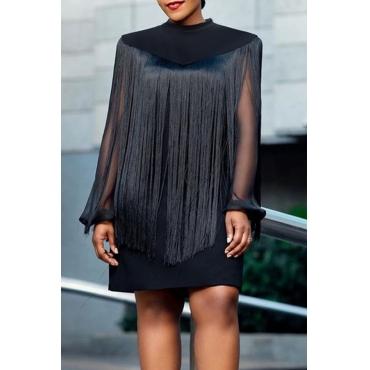 Lovely Party Tassel Design Black Mini Dress