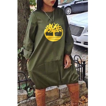 Lovely Casual Print Loose Green  Knee Length Dress