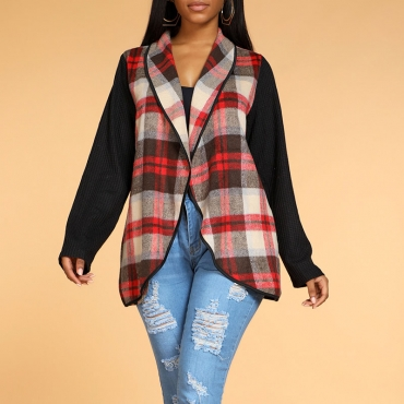 Lovely Casual Plaid Print Red Coat