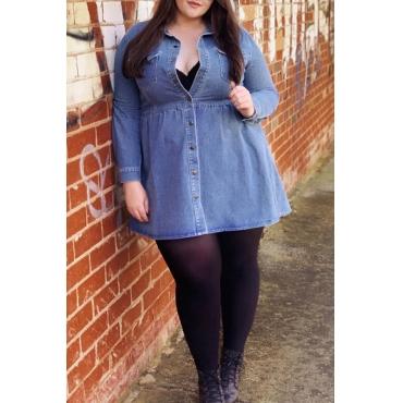 Lovely Chic Buttons Design Blue Plus Size Mini Dress