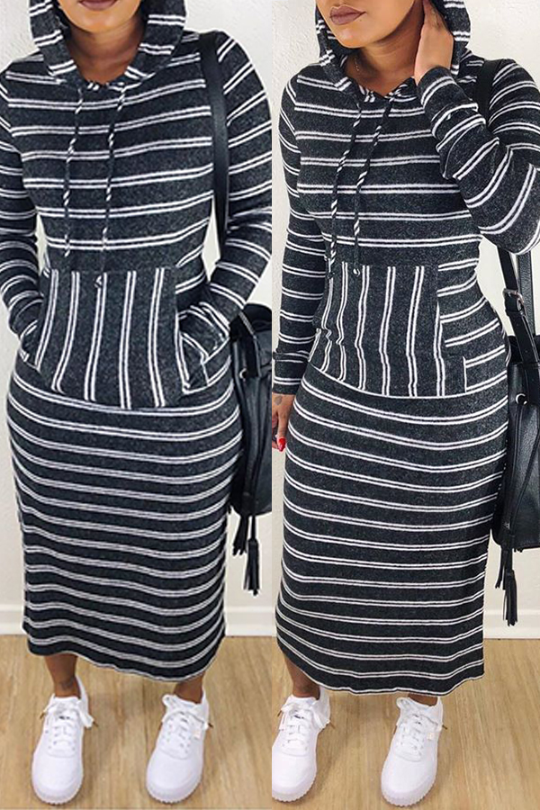 Lovely Casual Striped Black Ankle Length Dress