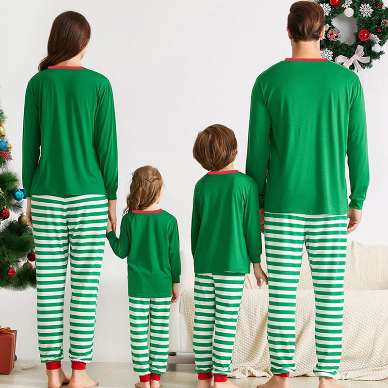 Lovely Family Striped Green Mother Two-piece Pants Set