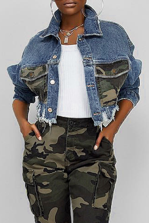 Lovely Casual Camouflage Printed Patchwork Blue Coat