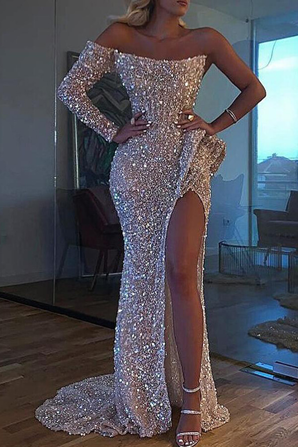 Lovely Party One Shoulder Slit Silver Trailing Evening Dress