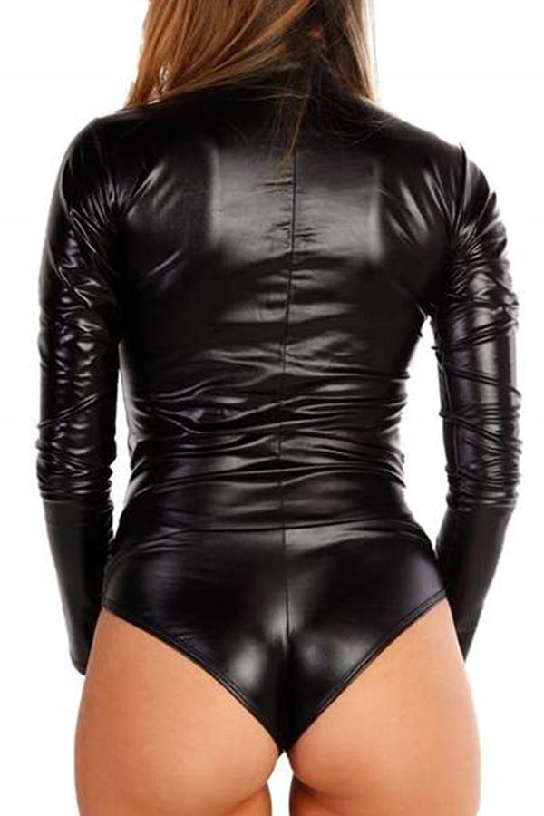Lovely Casual Sequin Skinny Black Bodysuit