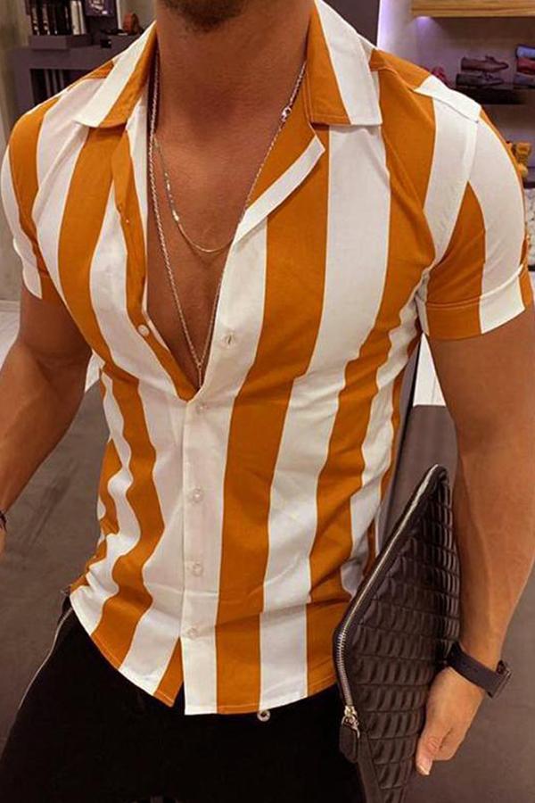 Lovely Chic Striped Orange Shirt