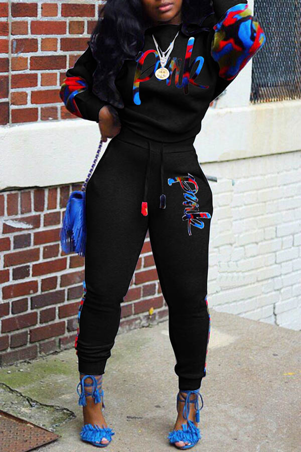 Lovely Casual O Neck Patchwork Black Two-piece Pants Set