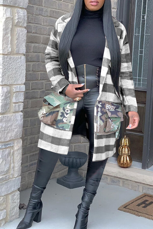 Lovely Casual Letter Printed Grey Coat