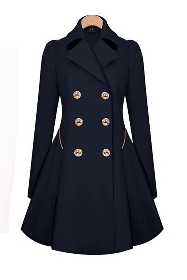 Lovely Casual Buttons Design Navy Blue Coat