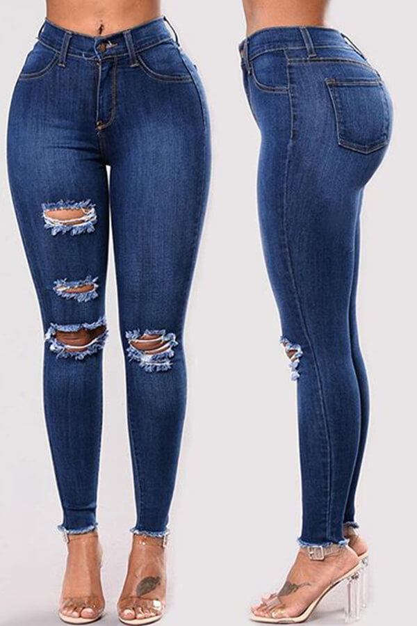 Lovely Chic Broken Holes Deep Blue Jeans фото