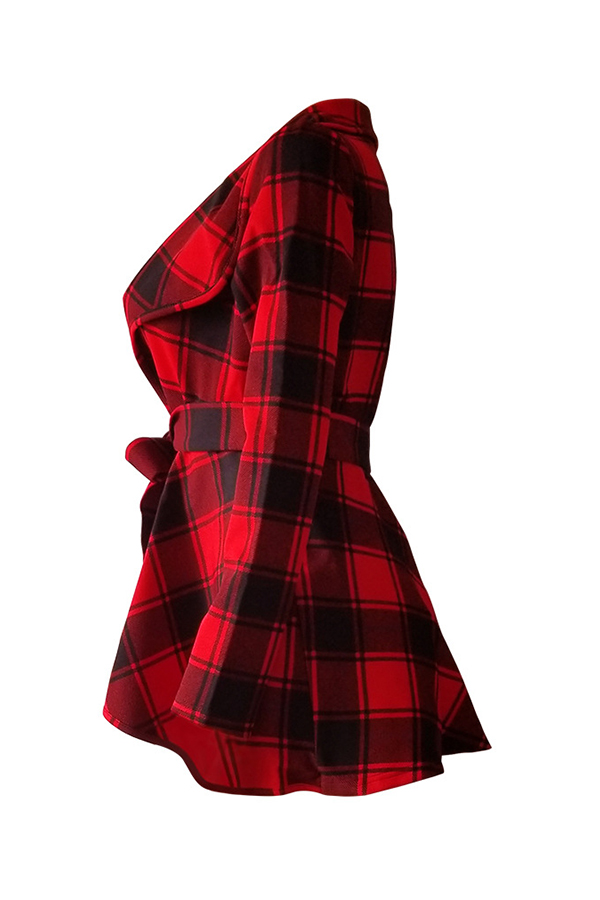 Lovely Casual Plaid Red Coat