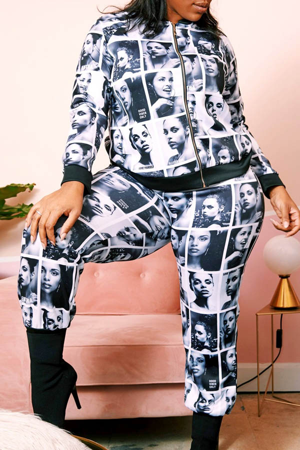 Plus Size Two Pieces Lovely Casual Print White Plus Size Two-piece Pants Set фото