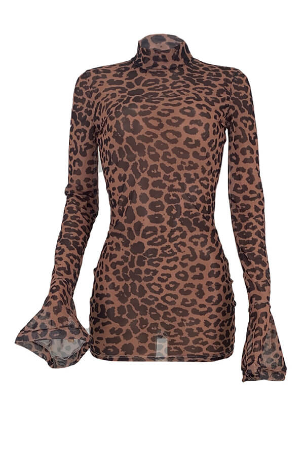 Lovely Party Leopard See-through Mini Dress