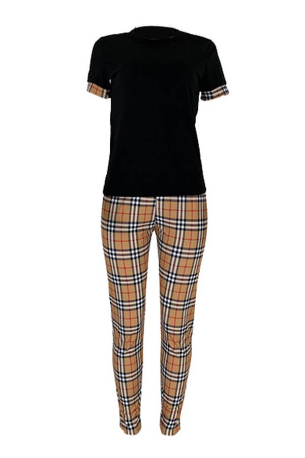 Lovely Stylish Plaid Printed Patchwork Black Two-piece Pants Set