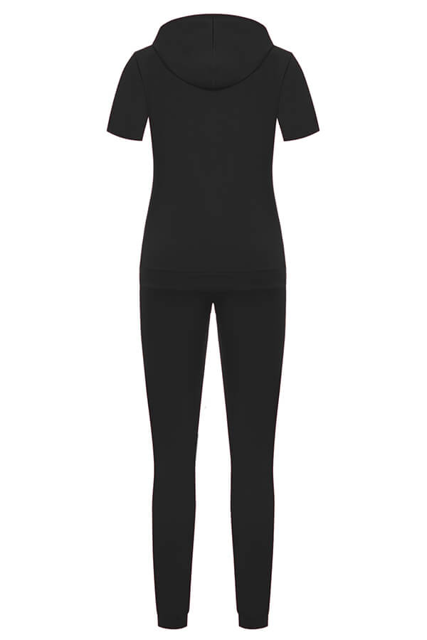 Lovely Leisure Hollow-out Black Plus Size Two-piece Pants Set