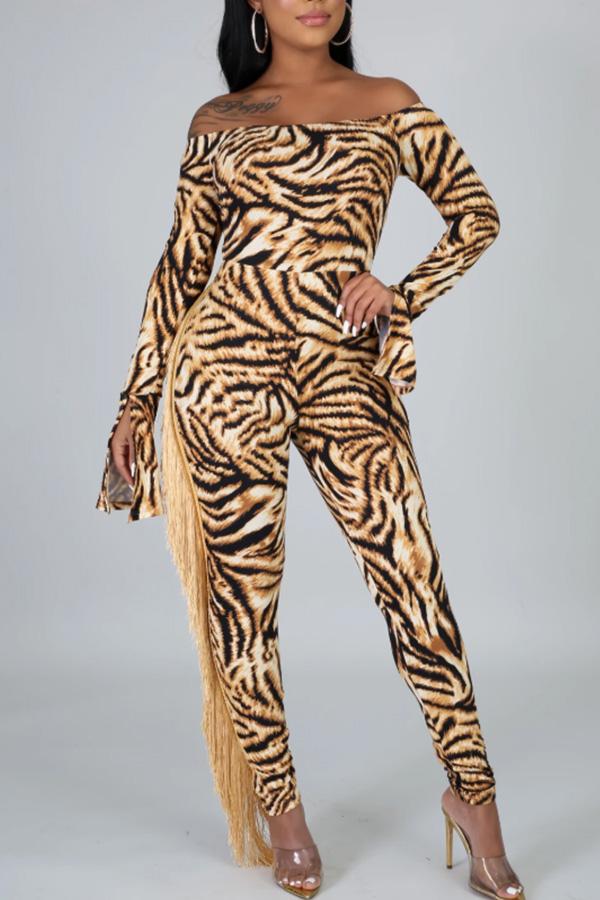 Lovely Chic Tassel Design Tiger Stripes One-piece Jumpsuit