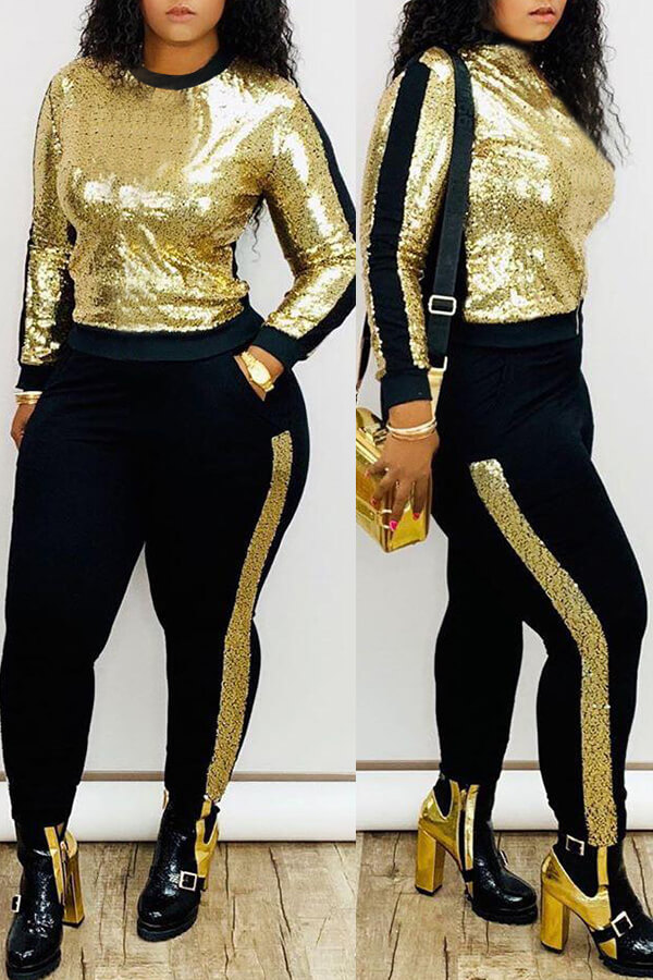 Lovely Casual Patchwork Gold Two-piece Pants Set