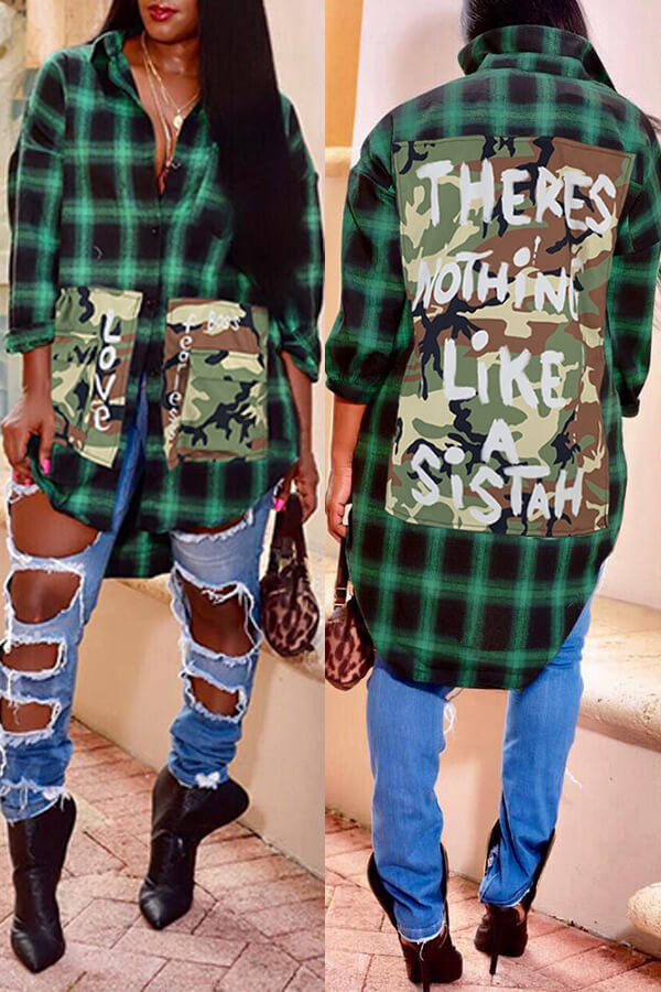Lovely Casual Plaid Print Green Blouse