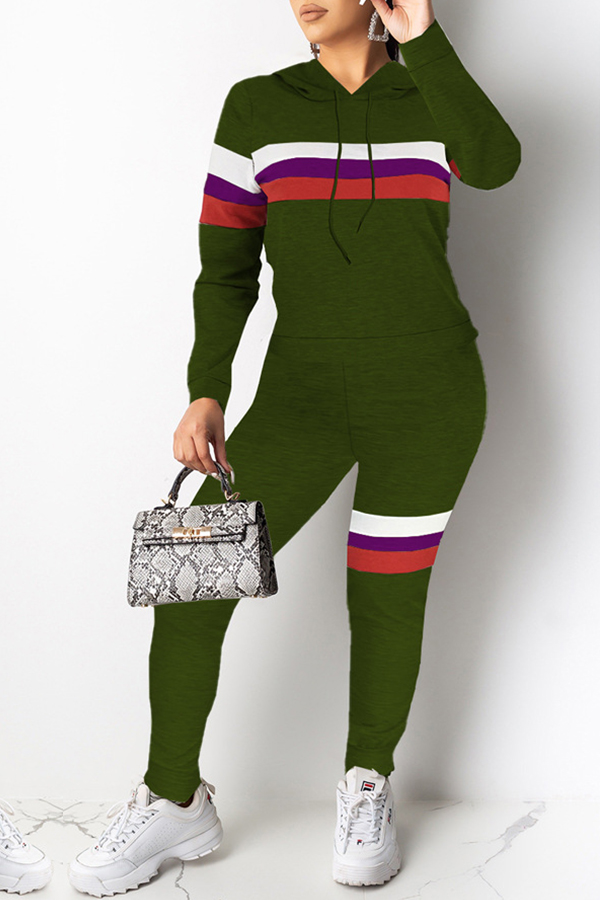 Lovely Chic Patchwork Army Green Two-piece Pants Set