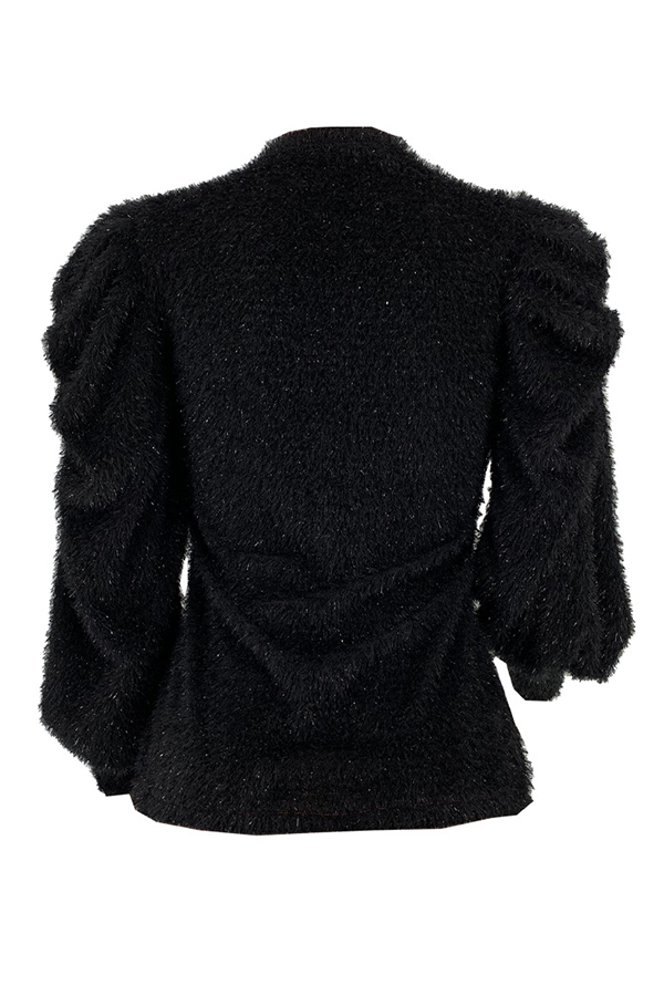 Lovely Casual Mandarin Collar Ruffle Design Black Sweater