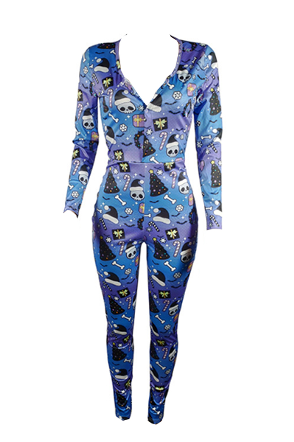 Lovely Christmas Day Printed Deep Blue One-piece Jumpsuit