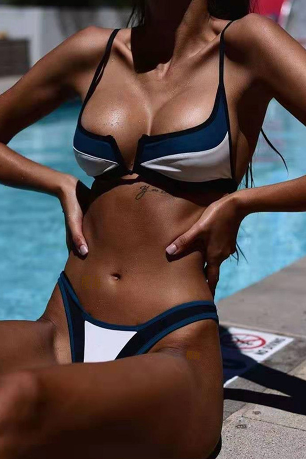 Lovely Patchwork Blue Two-piece Swimsuit