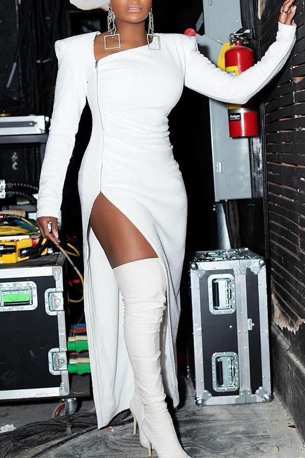 Lovely Party Zipper Design White Evening Dress