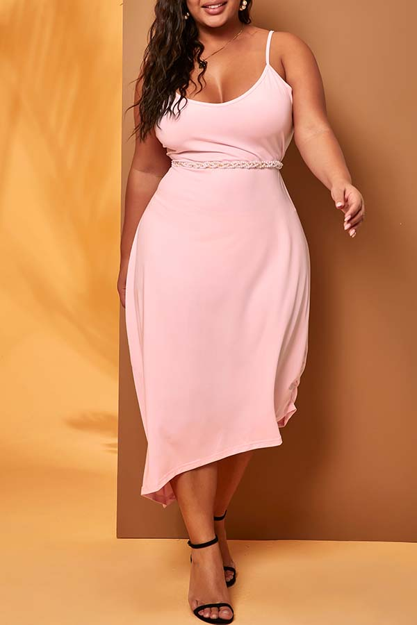 Lovely Casual Spaghetti Straps Pink Mid Calf Plus Size Dress