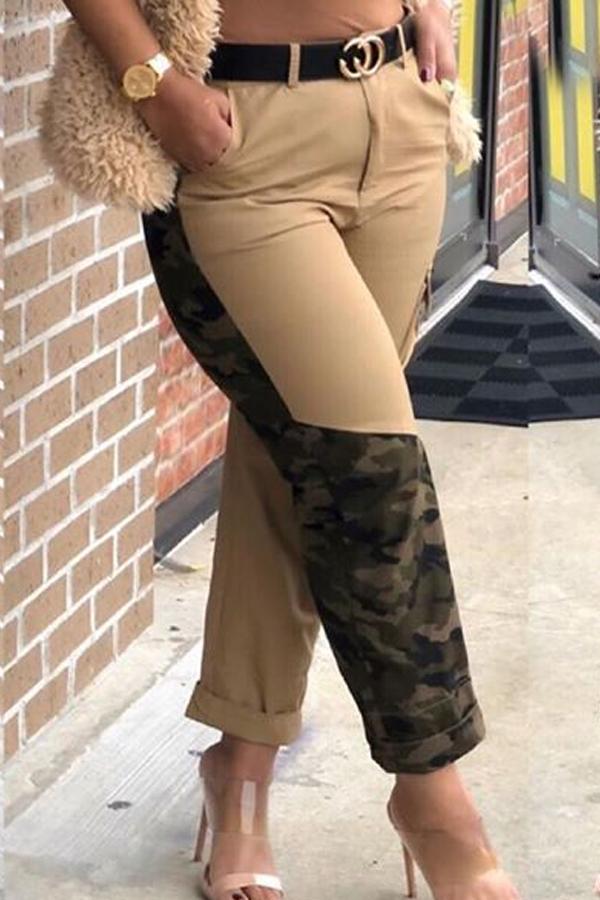 Lovely Casual Camo Print Khaki Pants