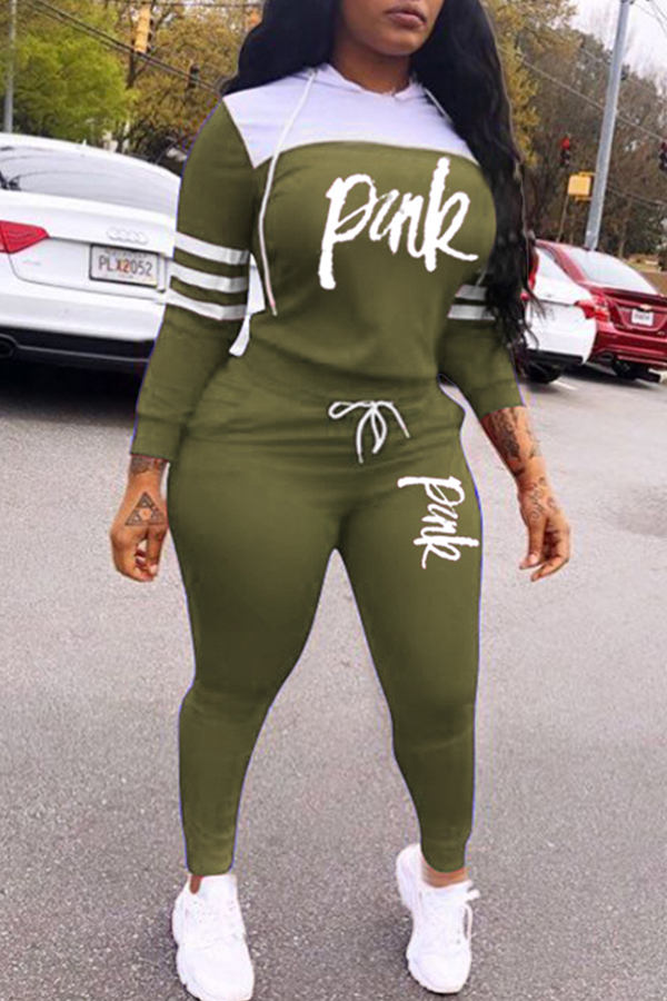 Lovely Casual Hooded Collar Letter Army Green Two-piece Pants Set