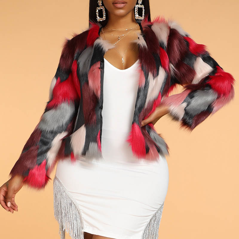 Lovely Casual Patchwork Multicolor Faux Fur Coat