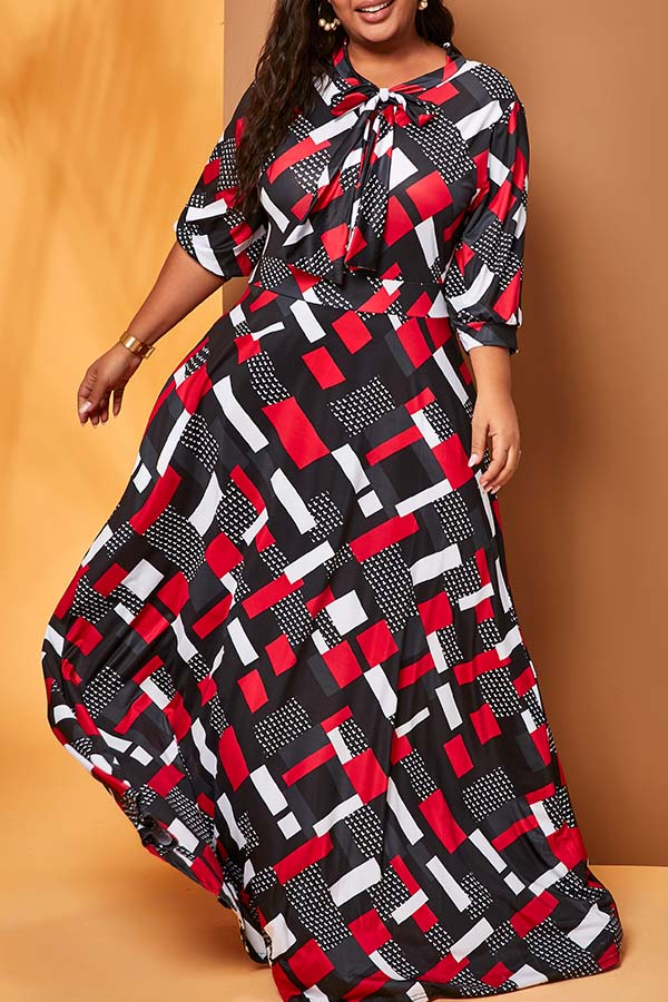 lovelywholesale / Cheap Plus Size Dress Lovely Casual Print Multicolor Plus Size Maxi Dr