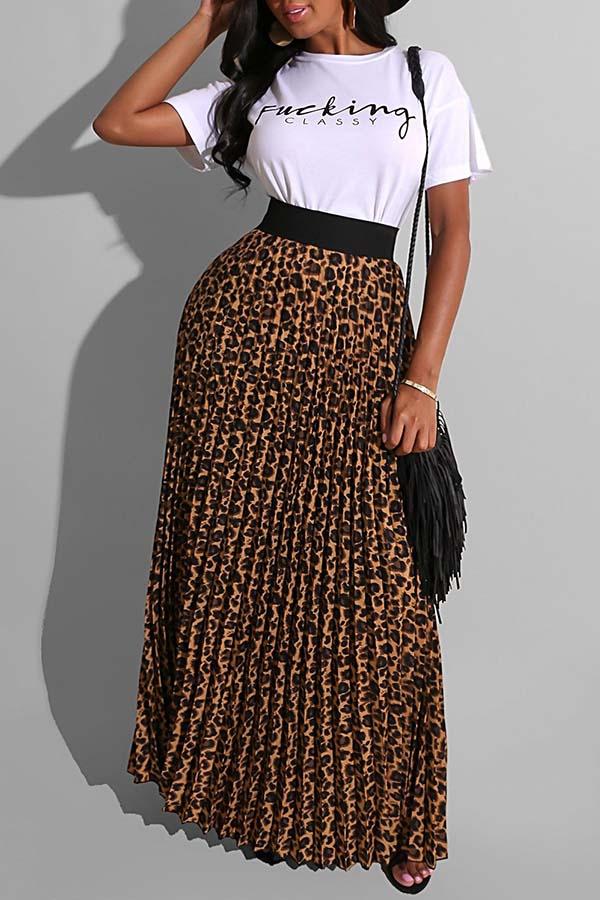 Lovely Street Leopard Print White Two-piece Skirt Set